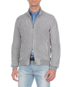 Perforated Suede Blouson Jacket