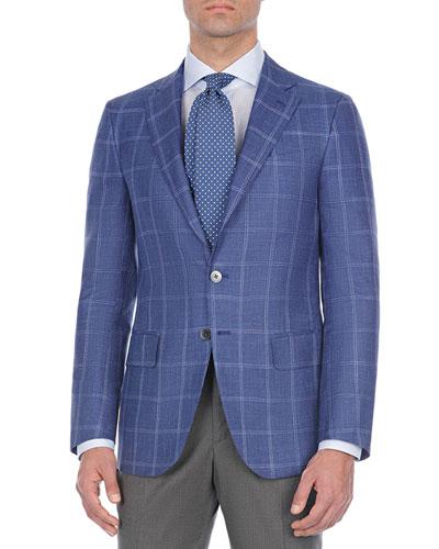 Windowpane Plaid Wool-Blend Sport Coat