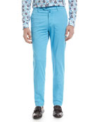 Flat-Front Chino Pants, Aqua Blue