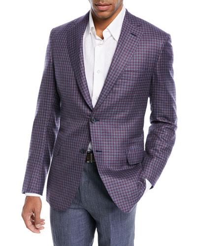 Cashmere-Silk Check Jacket