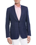 Windowpane Wool-Silk Jacket