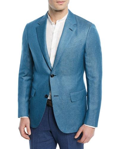 Textured Cashmere-Linen Blazer