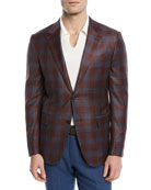 Plaid Two-Button Wool Blazer