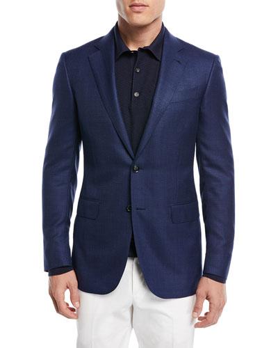 Textured Wool Triblend Blazer, Navy