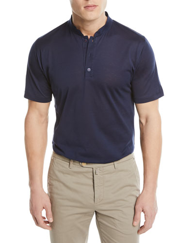 Mandarin-Collar Cotton T-Shirt, Blue