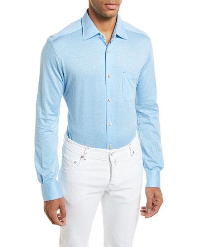 Woven Long-Sleeve Knit Shirt, Light Blue