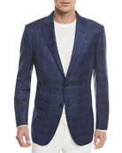 Windowpane Check Wool-Silk Jacket