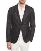 Heathered Wool Two-Button Blazer