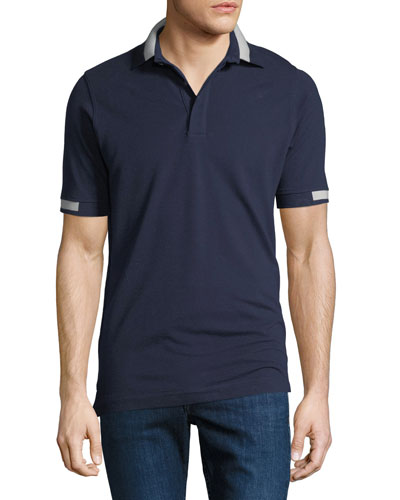 Men's Pique Knit Cotton Polo Shirt, Navy Blue
