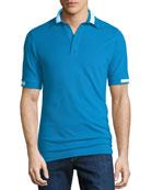 Men's Piqué Knit Cotton Polo Shirt, Aqua Blue