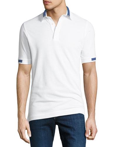 Men's Pique Knit Cotton Polo Shirt, White