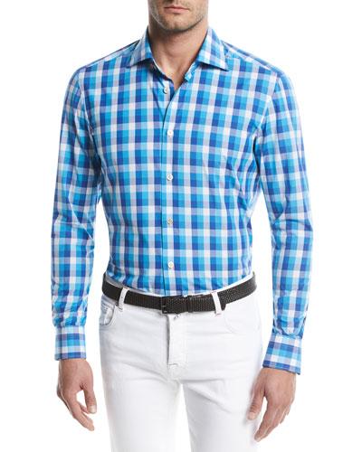 Large-Check Cotton Sport Shirt