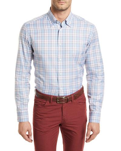 Plaid Long-Sleeve Shirt, Light Blue