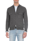 Heathered Wool Two-Way Zip Sweater