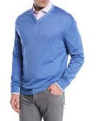 Washed Cashmere-Silk V-Neck Sweater, Blue