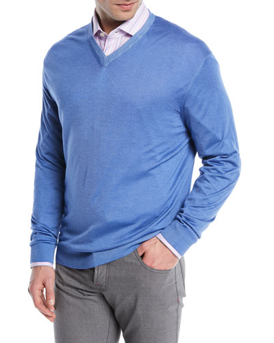 Washed Cashmere-Silk V-Neck Sweater, Blue