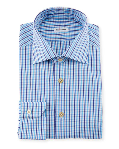 Multi-Check Dress Shirt, Blue