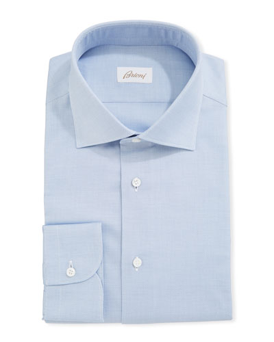 Micro Neat-Weave Cotton Dress Shirt