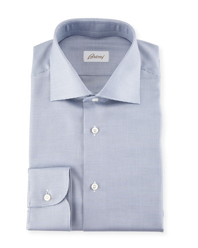 Micro Check Dress Shirt, Blue