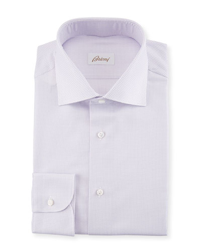 Basketweave Cotton-Silk Dress Shirt