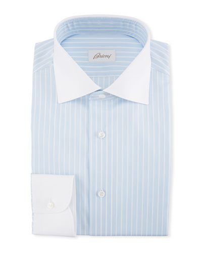 Striped Dress Shirt with Contrast Collar & Cuffs