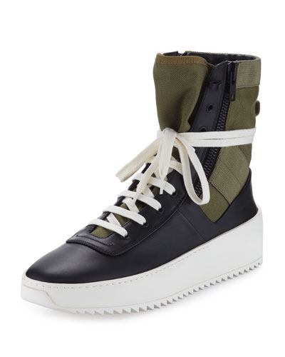 Jungle High-Top Leather Sneaker with Canvas Insets