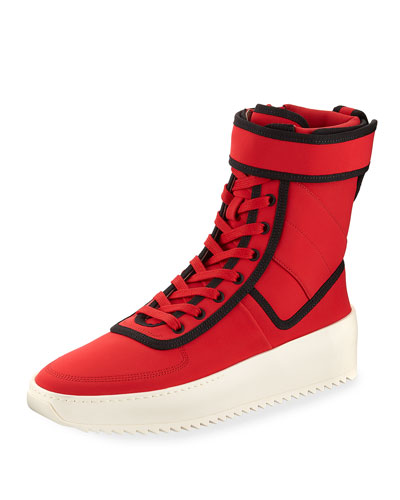 Military Calf Leather Platform Sneaker, Red/Black
