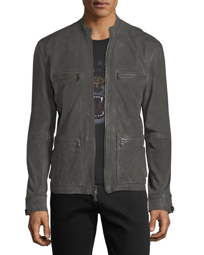 Military Field Leather Racer Jacket