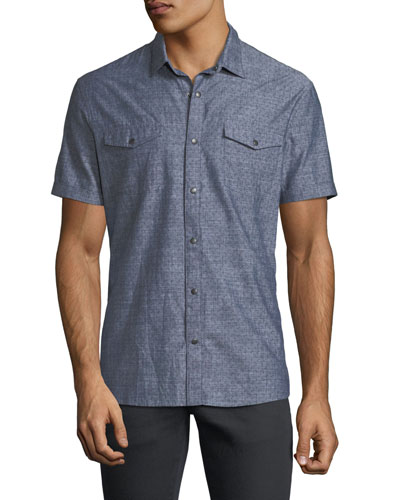 Snap-Front Short-Sleeve Sport Shirt