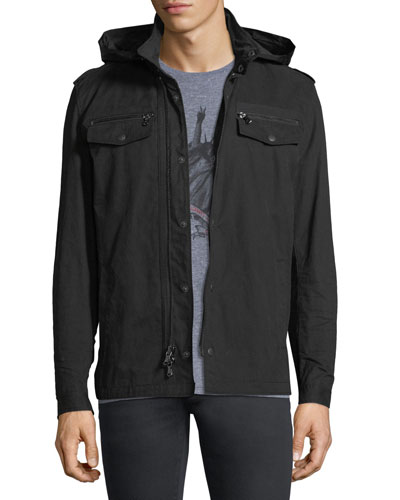 Double-Zip Hooded Shirt Jacket