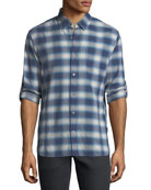 Roll-Up Plaid Sport Shirt