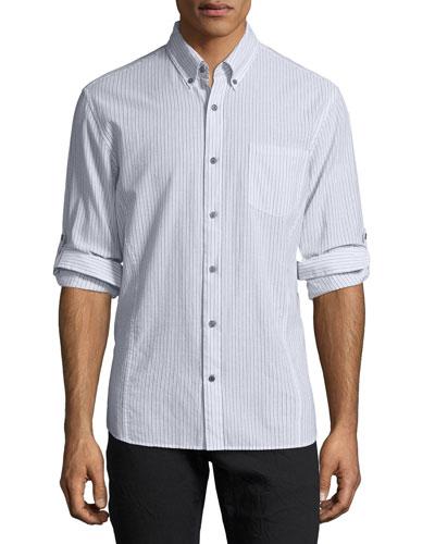 Roll-Sleeve Striped Cotton Button-Front Sport Shirt