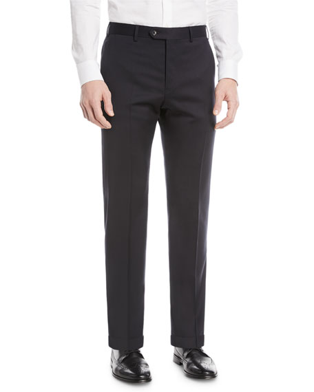 Emporio Armani Basic Flat-Front Wool Trousers
