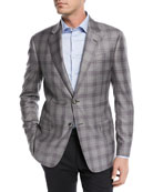 Two-Button Windowpane Blazer, Gray