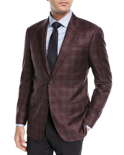 Two-Button Windowpane Blazer, Burgundy