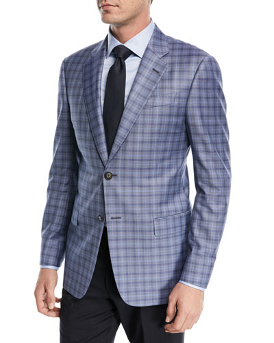 Plaid Wool Two-Button Jacket