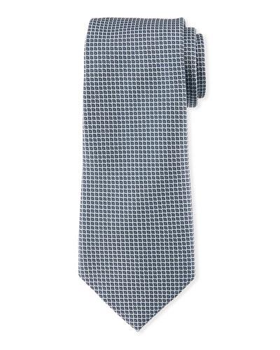 Neat Small Square Silk Tie, Gray