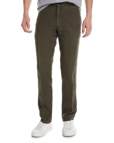Solid Linen Straight-Leg Pants
