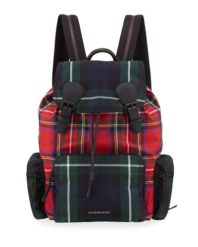 Multi-Check Rucksack Canvas Backpack