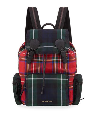 Multi-Check Rucksack Canvas Backpack