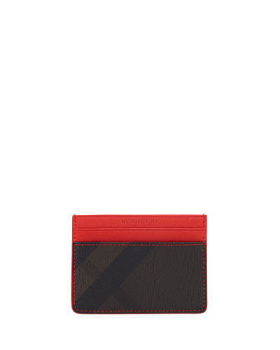 Sandon Check-Print Card Case, Chocolate