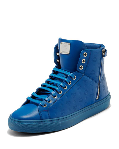Men's Embossed Leather Turn-Lock High-Top Sneaker