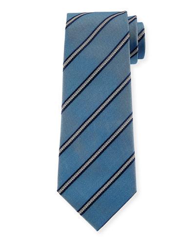 Arrow Striped Silk Tie, Light Blue