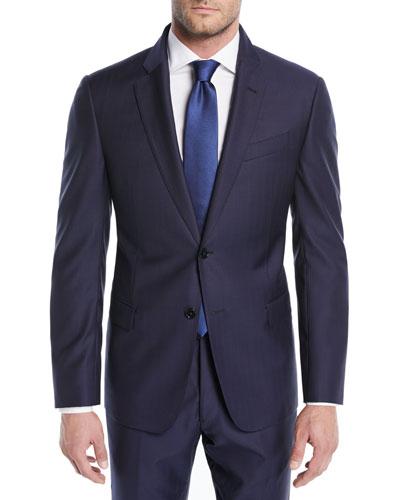 Alternating Stripe Two-Piece Wool Suit