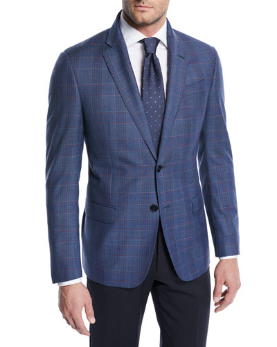 Two-Tone Plaid Wool Jacket