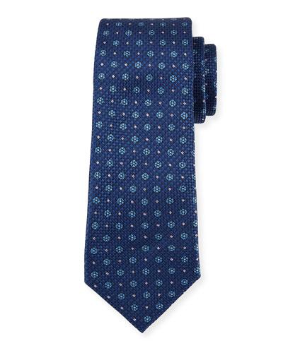 Floral Basketweave Silk Tie, Blue
