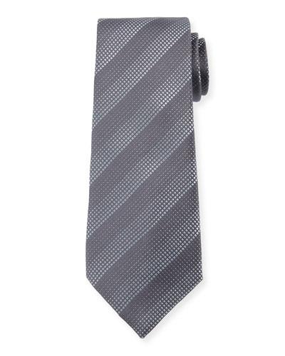 Degraded Stripe Silk Tie, Dark Gray