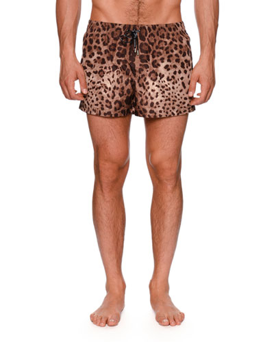 Leopard-Print Swim Trunks