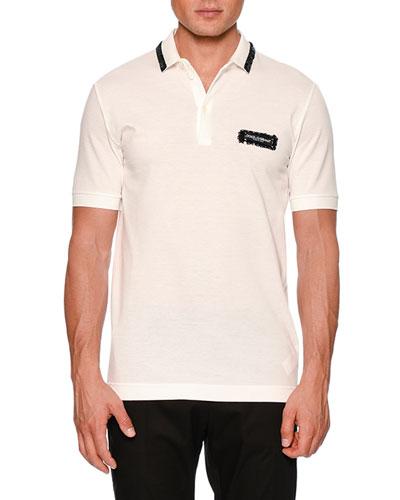 Sequined Cotton Pique Polo Shirt
