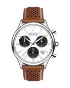 43mm Heritage Calendoplan Chronograph Watch with Perforated Leather Strap
